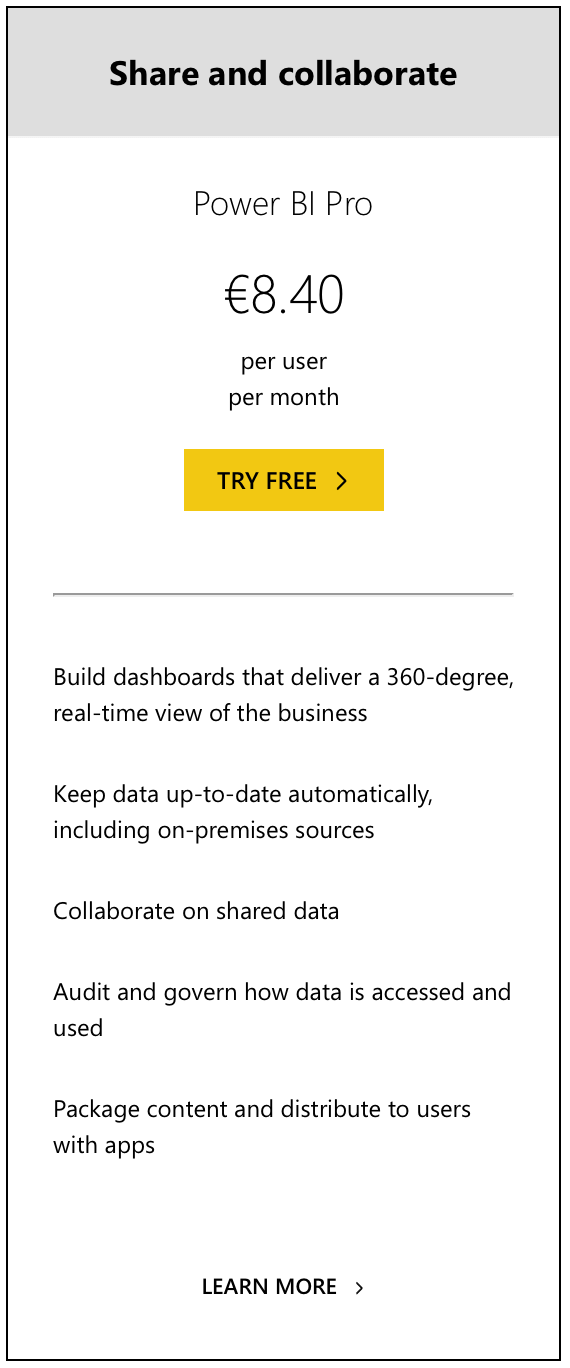 Power BI Pro Pricing
